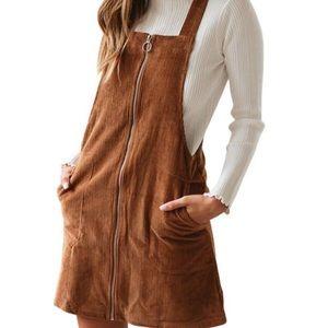 MINKPINK Zip-Up Corduroy Overall Suspender Dress
